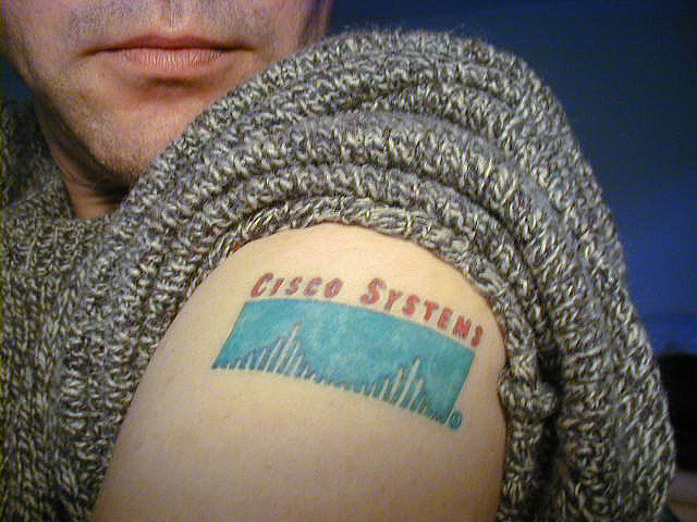 Employee with cisco tattoo indicating great company culture and loyalty