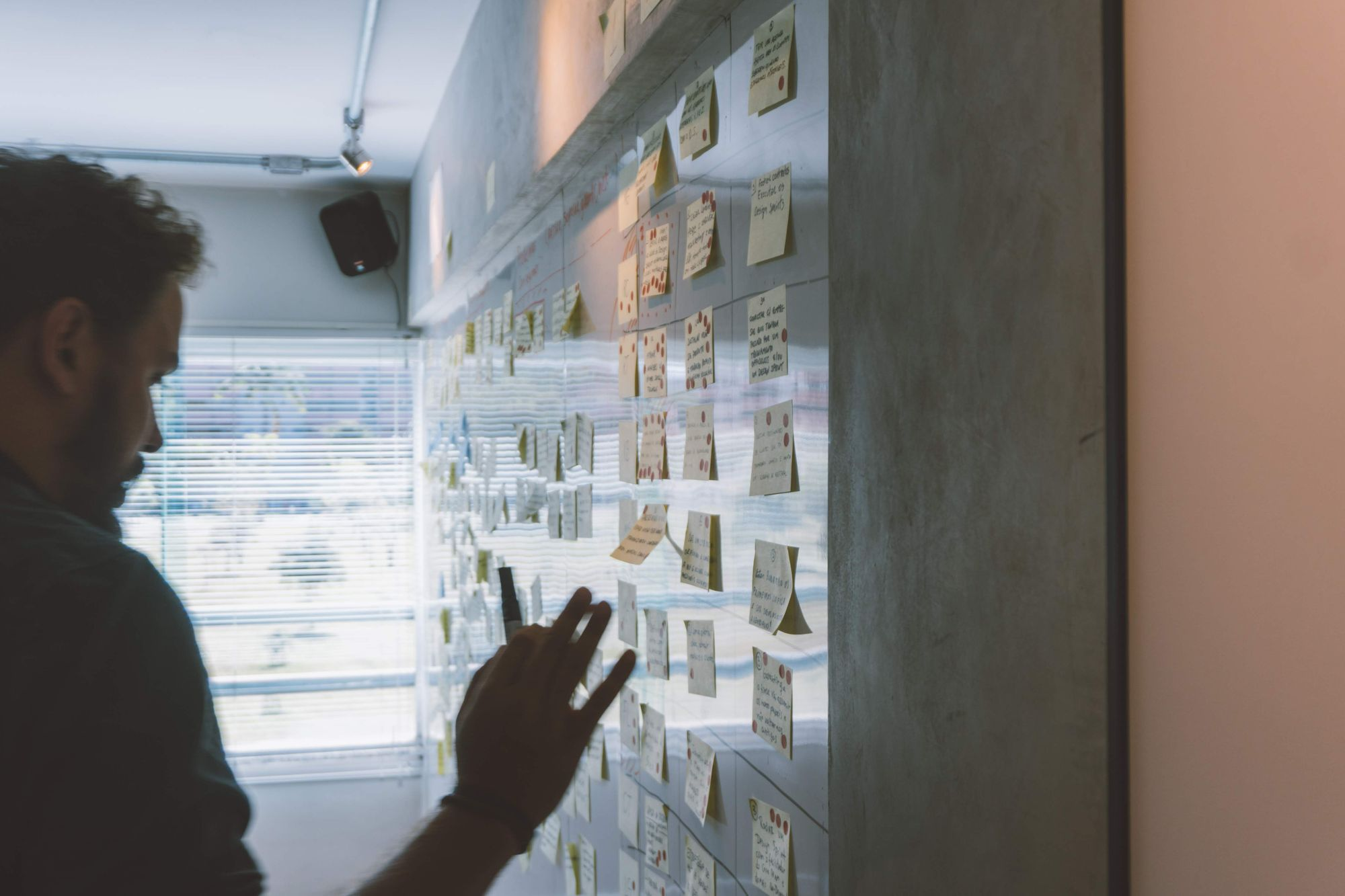 Man organizing sticky notes with HR requirements
